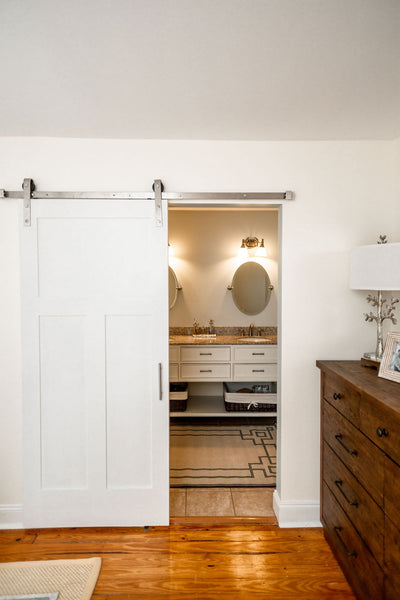 Master bath barn door in small space