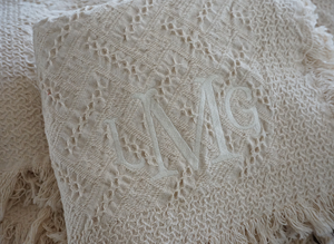 The Annie Forever Blanket® {throw} from Swell Forever. Made in the South. American Made. Uniquely personalized with custom fabric message tags. Monograms available. The ideal gift for housewarmings, hostess gifts, birthday, bridesmaid and wedding gifting. Help us support adoption. Neutral natural color with fringe. Monogramming available.