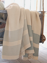 The Caroline Forever Blanket {throw} by Swell Forever | Made in USA | Grey and Aqua Stripes | Cotton throw | Support Adoption | Ideal gifts for best friends, sisters, aunts, mothers, brides, sympathy, graduation and more. www.swellforever.com