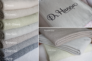 The Lindsay Forever Blanket {throw} by Swell Forever. American Made. 100% Cotton. Diamond pattern with personalized message tags. Diamond patterned throw in cream, oatmeal, sea salt, soft green, navy, charcoal, brownie grey.