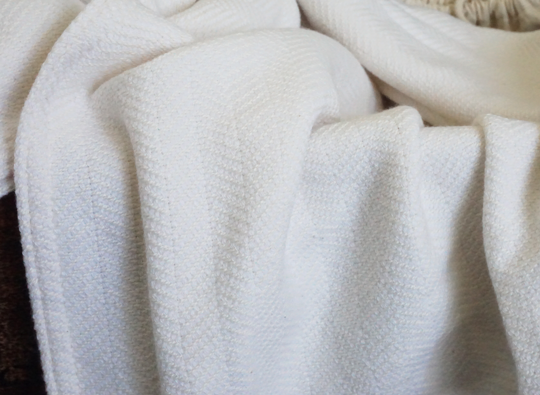 The Irene Cashmere Forever Blanket by Swell Forever with personalized message tag. Wedding, grandparent, parent, birthday, and holiday gifts. American Made. Cream and Light Grey Blanket.