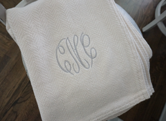 The Susan Forever Blanket throw with monogram. Light grey wedding gift. Personalized fabric tags. Support Adoption.