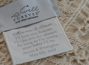 The Annie Forever Blanket® {throw} from Swell Forever. Made in the South. American Made. Uniquely personalized with custom fabric message tags. Monograms available. The ideal gift for housewarmings, hostess gifts, birthday, bridesmaid and wedding gifting. Help us support adoption. Neutral natural color with fringe.