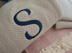 The Susan Forever Blanket throw with monogram. Perfect wedding gift. Personalized fabric tags. Support Adoption. Classic herringbone throw in cream, oatmeal, soft green, brown grey, sea salt, charcoal and navy. Newborn baby prop. Heirloom gift idea.