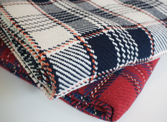 The Kevin Forever Blanket {throw} by Swell Forever in plaid cotton. American Made heirloom blankets with unique personalized message tags. Red plaid, khaki, and teal color options. Your purchase supports adoption. Romantic gifts for men. Anniversary, wedding, engagement, father's day gift ideas. Auburn college colors.