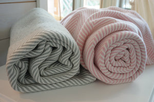 The Sarah Forever Blanket {Throw} by Swell Forever. American Made textiles. Unique personalized message tags. Sea salt and pink for the perfect soft palate or nursery. Coastal design. www.swellforever.com