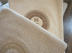 The Irene Cashmere Forever Blanket by Swell Forever with personalized message tag. Wedding, grandparent, parent, birthday, and holiday gifts. Corporate logo gift ideas. American Made.
