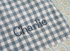 The Millie Forever Blanket in gingham check fabric for everyday. Personaliezed and Monogrammable. Baby Blanket. Heirloom. Soft and beautiful. Support Adoption. Classic gingham check baby blanket in pink, green, navy and blue.