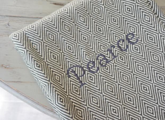 The Lindsay Forever Blanket {throw} by Swell Forever. American Made. 100% Cotton. Diamond pattern with personalized message tags.