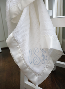 The Noah Forever Blanket {baby} by Swell Forever. Personalized message tags on each gift. Baby Blankets with monograms. Made in USA. Support Adoption. Satin trim.