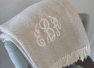The Olivia Forever Blanket {throw} from Swell Forever. 100% machine washable cotton blanket with natural fringe. Red and Oatmeal available. Personalized message tags and monograms make these the perfect weddings, anniversary, birthday, best friend, graduation, new baby, housewarming or corporate gift! We support adoption. Grey, Soft Green, Sea Salt and Red weave with fringe. Unique bridesmaid gift ideas. Bridal Shower Presents.