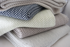 The Susan Forever Blanket throw with monogram. Perfect wedding gift. Personalized fabric tags. Support Adoption. Classic herringbone throw in cream, oatmeal, soft green, brown grey, sea salt, charcoal and navy.