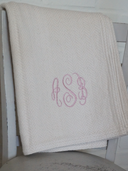 The Susan Forever Blanket throw with monogram. Perfect wedding gift. Personalized fabric tags. Support Adoption. Classic herringbone throw in cream, oatmeal, green, brown grey, charcoal and navy.