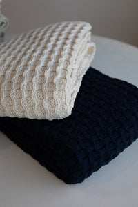 The Jean Forever Blanket by Swell Forever | American Made 100% Cotton Chunky weave throw | Uniquely personalize your blanket with a fabric message tag | Premium, Luxury throws and blankets | Support Adoption. | Wedding gift | Parent's Gift | Anniversaries