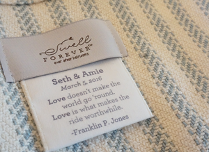The Wesley Forever Blanket {throw} by Swell Forever. Cotton Linen blend with soft texture. American Made. Comes with unique personalized message tags for gifting. Support Adoption. Classic wedding gifts. Anniversary.