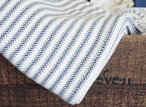 The Wesley Forever Blanket {throw} by Swell Forever. Cotton Linen blend with soft texture. American Made. Comes with unique personalized message tags for gifting. Support Adoption. Navy, Blue, and Khaki Throws.