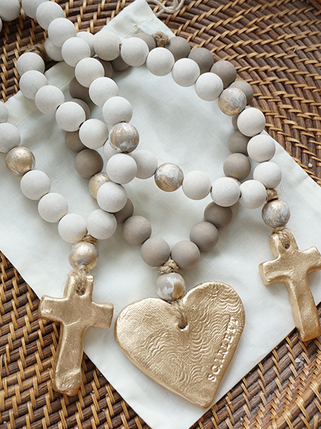 Forever Blessed: Handmade, clay Blessing Beads with personalized gift options. Hand painted in small batches. Includes personalized gift note and options for stamping initials, names, dates. Your purchase supports foster children and adoption. Ideal bridesmaid gifts, sympathy, loss, illness, cancer survivors, rare disease warriors, home decor, Made in America, encouragement gift ideas. Inspirational gifts with heart. Baptism, Dedication, baby naming, house blessing, housewarming. www.swellforever.com Cross