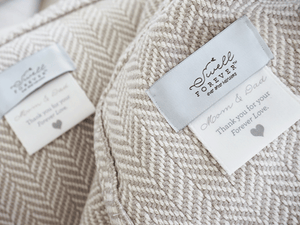 The Susan Forever Blanket throw with monogram. Light grey wedding fit. Personalized fabric tags. Support Adoption. Parent Wedding Gifts.