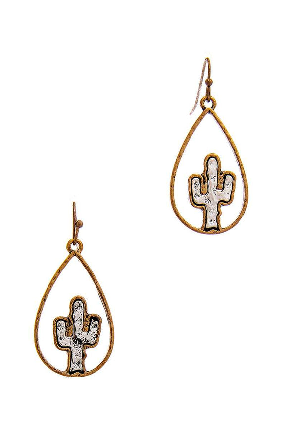Two Tone Tear Drop Out Lined Cactus Dangle Earring