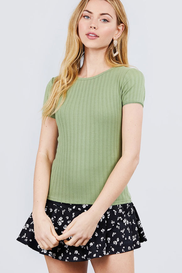 Short Sleeve W/lace Trim Detail Crew Neck Pointelle Knit Top