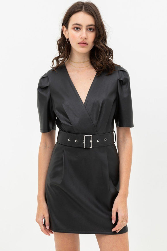Pleather Dress With Belt Buckle Across Waist. Short Sleeve With V Neckline