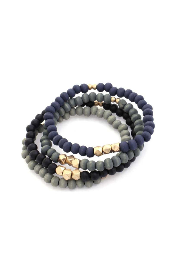 Painted Wooden Bead Stackable Stretch Bracelet