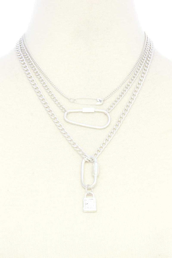 Lock Charm Metal Layered Necklace