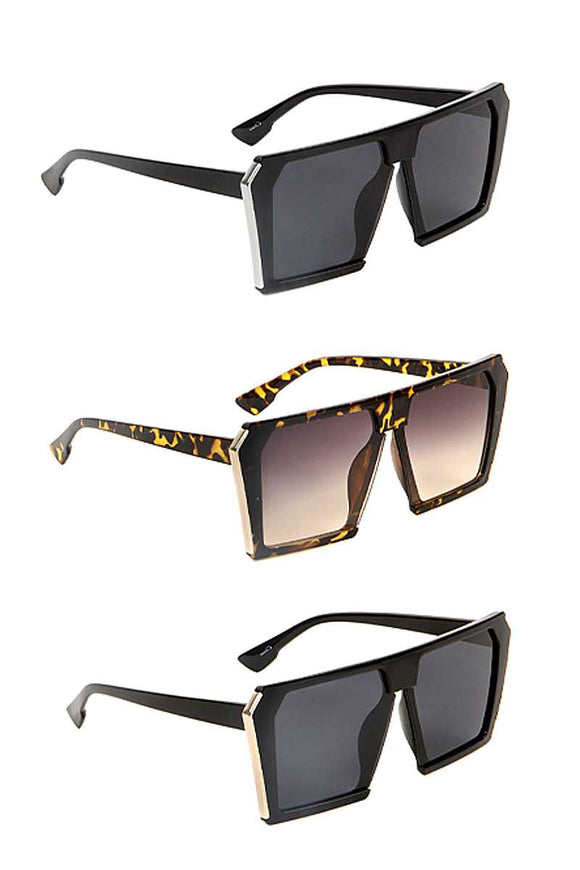 Fashion Plastic Square Metal Edge Sunglasses