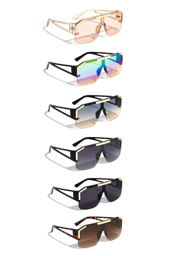 Modern Plastic Shield Triangular Temple Sunglasses
