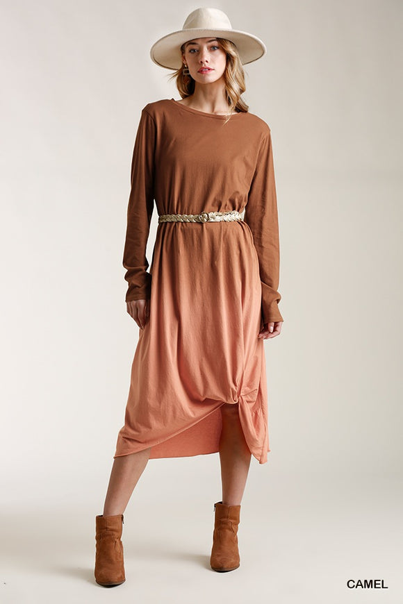 Ombre Front Knot Detail Long Sleeve Maxi Dress With Raw Hem