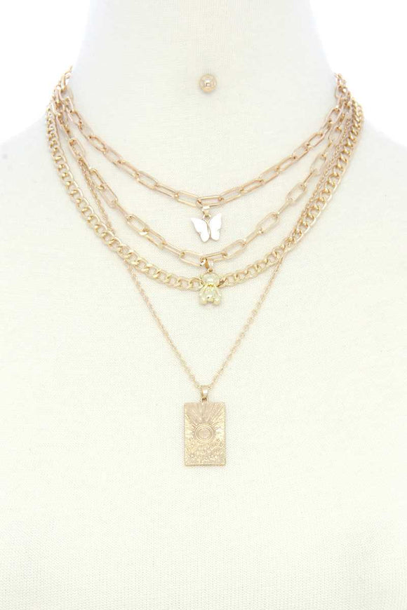 Dainty Butterfly Bear Charm Oval Link Layered Necklace
