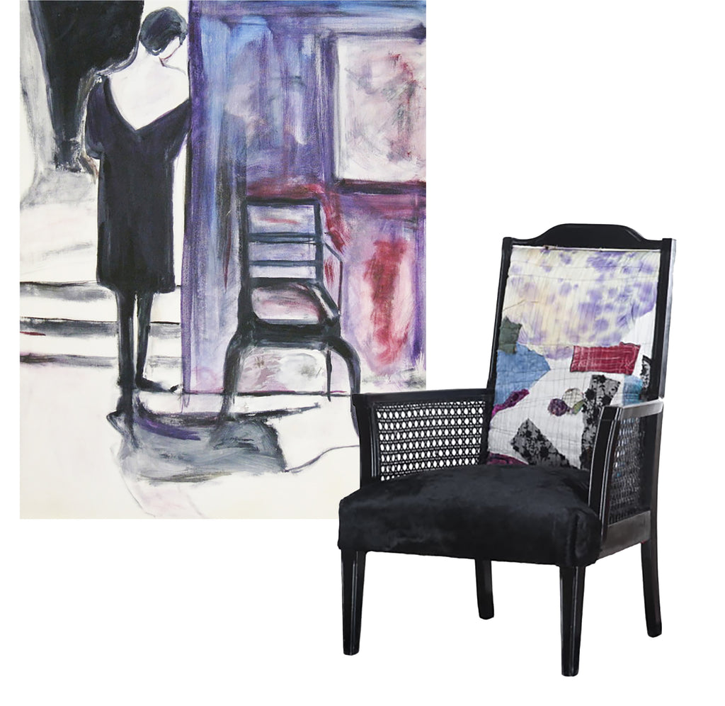 painting by Rodrigo Palacios with a chair upholstered in hand painted fabrics