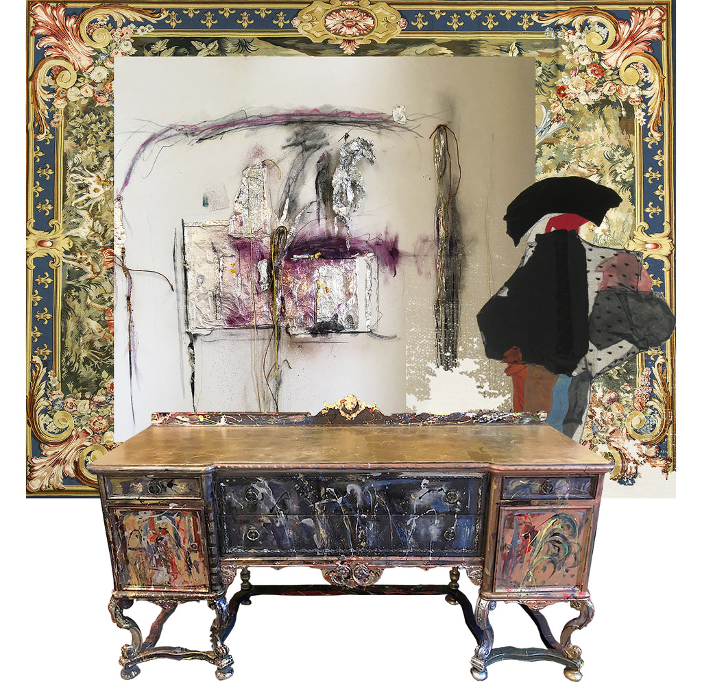 Matador, mixed media collage by Rodrigo Palacios with a hand painted credenza