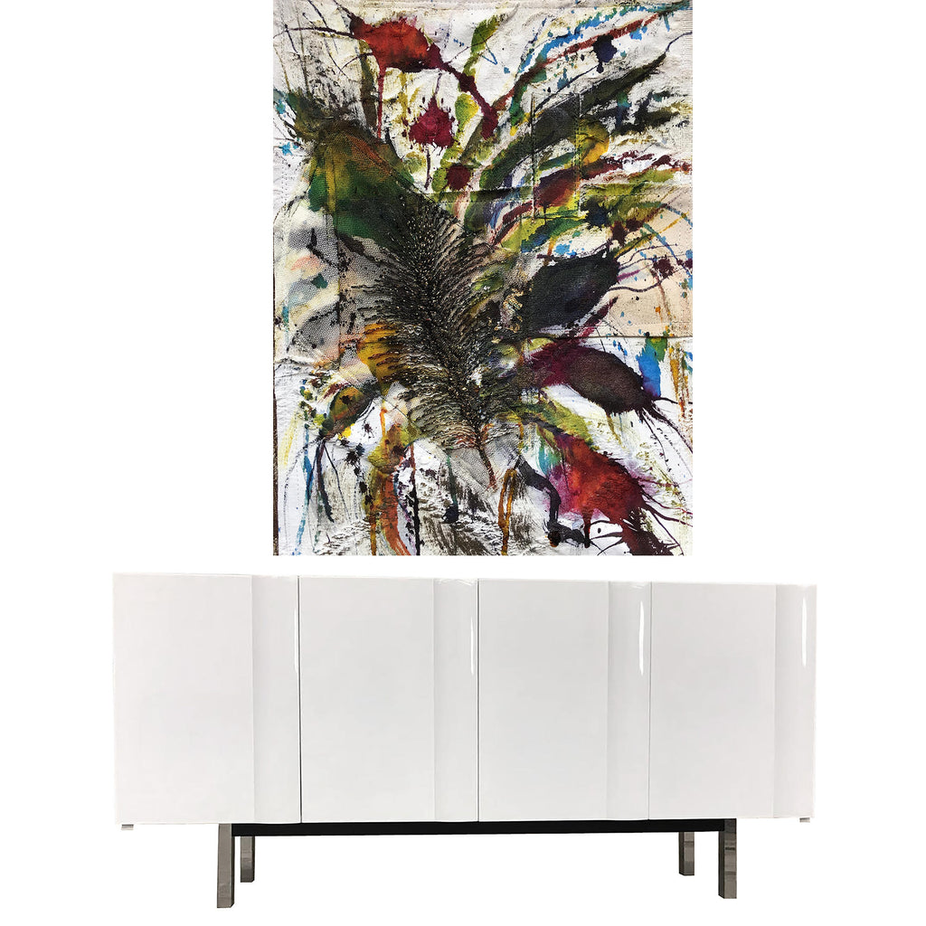 fabric collage by Rodrigo Palacios with a white modern credenza
