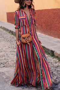 BOHO Button Down Collar  Stripes  Roll Up Sleeve Maxi Vacation Dresses same as photo xs