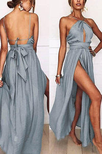 Sexy Halter Neck Sleeveless Maxi Dress same_as_photo m