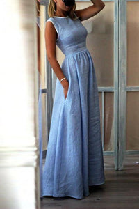 Elegant High-Waisted Pocket Holiday Maxi Dress blue 3xl