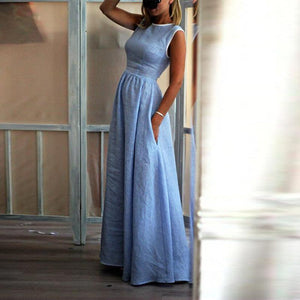 Elegant High-Waisted Pocket Holiday Maxi Dress blue l