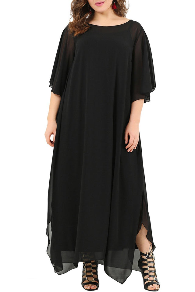 Sheinstreet Women Plus Size Ruffle Chiffon Maxi Dress