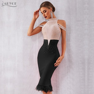 Women Elegant Red Off Shoulder Sexy Feather Bodycon Beading Dress