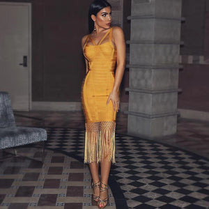 Women Tassel Bandage Midi Dress