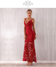 Load image into Gallery viewer, Women Bandage Red Lace Dress