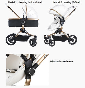 Aulon Luxury Baby Stroller 3 in 1 High landscape European design Pram with swivel seat