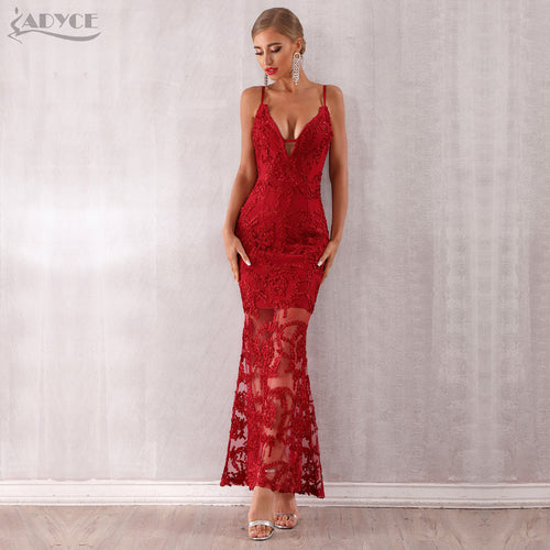 Women Bandage Red Lace Dress