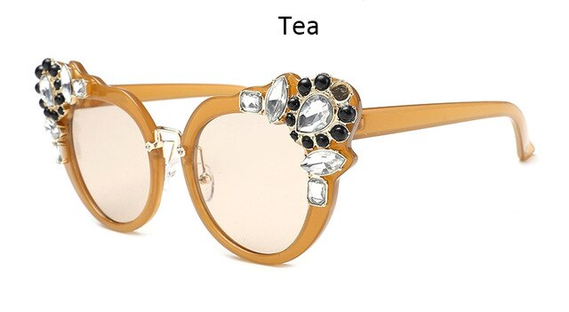 Women's Cat Eye Rhinestones Oversized Sunglasses
