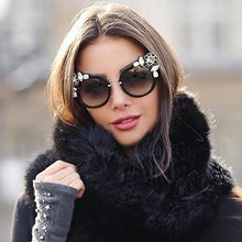 Load image into Gallery viewer, Women's Cat Eye Rhinestones Oversized Sunglasses