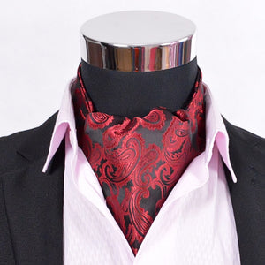 Paisley Satin Cravat Hot Sale Luxury Men Red Silk Cravat Big Size All-Match Male Ties Cravat For Autumn Winter Red,Blue,Gold