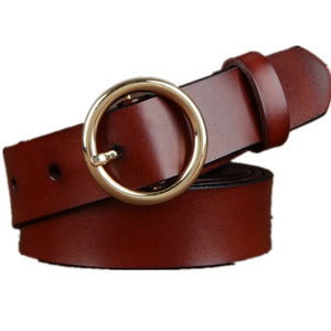 Women 100% Genuine Leather Belt High Quality Gold/Silver Round Buckle Belts For Women Fashion Wide Luxury Jeans Stripes Ceinture