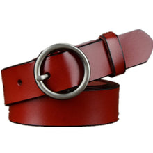 Load image into Gallery viewer, Women 100% Genuine Leather Belt High Quality Gold/Silver Round Buckle Belts For Women Fashion Wide Luxury Jeans Stripes Ceinture