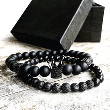 Load image into Gallery viewer, 2pcs/set Men Bead Bracelet Crown Charm Bangle Natural  Beads Bracelet for Women and Mens Pulseras Masculina